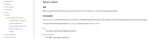 AWS CloudFormation documentation for Amazon MWAA environment